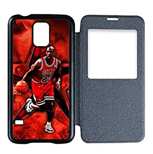 Samsung Galaxy S5 Flip Cover Cover Case with Chicago Bulls Michael Jordan Image Background Design-by Allthingsbasketball