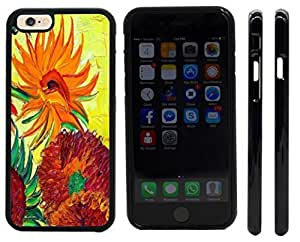 Rikki KnightTM Van Gogh Sunflowers Design iPhone 6 Case Cover (Black Rubber with front bumper protection) for Apple iPhone 6
