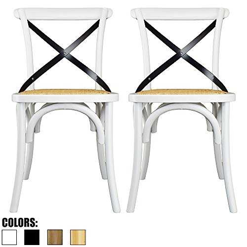 2xhome Set of Two (2) - White - Cross Back Chair - Solid Real Wooden Frame Antique Style Dining Chair Side Accent Chair with Soft Woven (Woven Back Chairs)