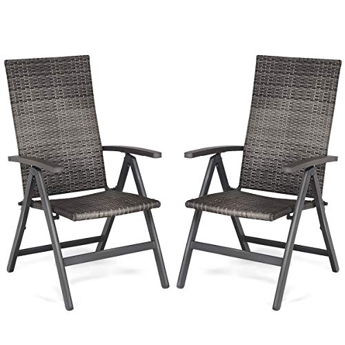 - Tangkula 2 PCS Rattan Folding Chairs Outdoor Patio Garden Pool Wicker Chairs with 5 Adjustable Positions Back Adjustable Camping Rattan Reclining Chairs Folding Portable and Beach Deck Chair with Arm