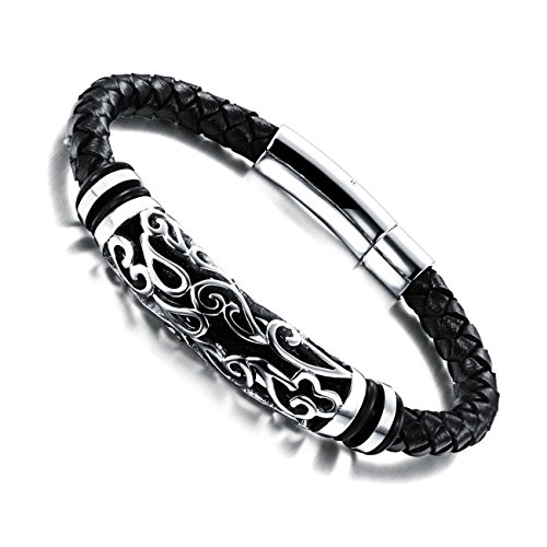 MOWOM Silver Tone Black Stainless Steel Genuine Leather Bracelet Bangle Cuff