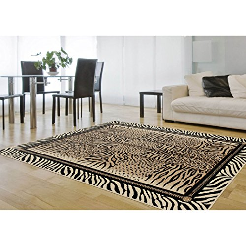 Safari Zebra Print Design Area Rug, Earthy Exotic Geometric Border Stripes Motif, Rectangle Indoor Hallway Doorway Living Area Bedroom Carpet, Leopard Animal Skin Themed, Black, Cream, Size 5