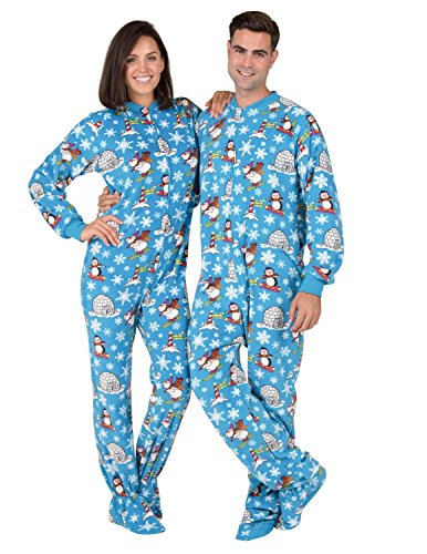 Footed Pajamas - - Winter Wonderland Adult Fleece Onesie