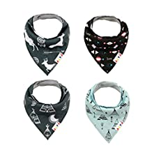 Alva Baby Designed Stylish Baby Bandana Bibs for Boys and Girls 4 Pack of Super Absorbent Baby Gift Settings