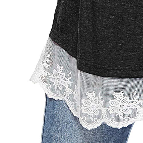 Manche Ourlet Dentelle Shirt Couleur Noir SANFAHSION Chic Tops Femme Blouse Longue Tee Patchwork Unie qHtWna1T