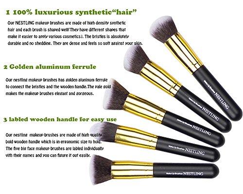 Nestling10 PCS Premium Professional Kabuki Makeup Brush Set Cosmetics Foundation Blending Blusher Eyeliner Eyeshadow Face Powder Brush Tool Kit (Golden Black)