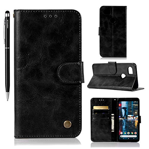 HIKERCLUB Google Pixel 2 XL Wallet Case Vintage Cowhide Premium PU Leather Flip Cover TPU Shell Kickstand Magnetic Closure Cash Card Holder with Hand Strap Case for Google Pixel 2 XL (Black)