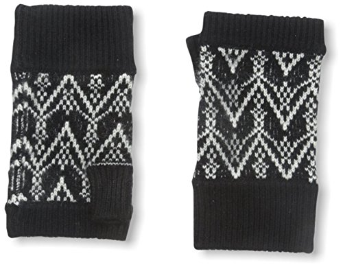 Sofia Cashmere Women's Fair Isle Fingerless Gloves, Black...