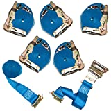 6 Pack of Cargo Control Ratchet Straps, 2'' x 20' with E Track Fittings