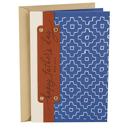 Hallmark Fathers Day Greeting Card  Blue And Brown Leather Happy Fathers Day Pattern