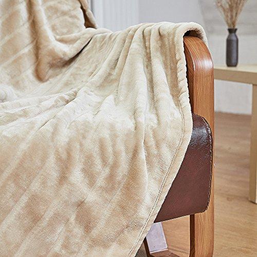 """Bertte Ultra Velvet Plush Super Soft Decorative Stripe Throw Blanket-50\""""x 60\"""", Light Beige"""