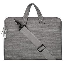Mosiso Laptop Shoulder Bag / Briefcase, Denim Fabric 13-13.3 Inch Notebook Computer / MacBook Pro / MacBook Air Carry Case, Gray