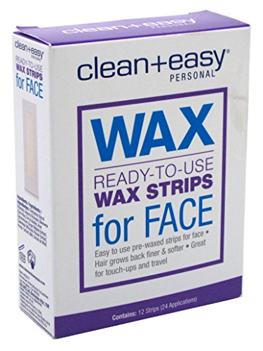 Clean + Easy Ready to Use Wax Strips for the Face - Great for Touch-Ups and Travel - 12 Count