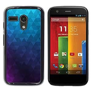 Qstar Arte & diseño plástico duro Fundas Cover Cubre Hard Case Cover para Motorola Moto G1 / X1032 ( Polygon Purple Blue Wallpaper Abstract)