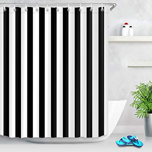 (LB Black and White Shower Curtain,Striped Bathroom Curtain,60x72 inch Waterproof Polyester Fabric,Fashion Bath Decor,Ring Hooks Included)