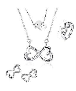 """Stockton 3 Set - Muchachas de Plata las mujeres de Digitaces 8"""" juegos de regalo de joyería de moda collar y pendientes y anillo(Plata)"""
