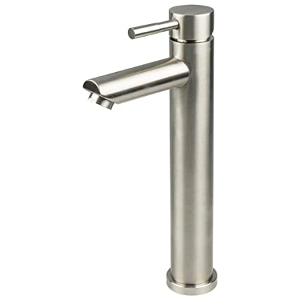 Walhome Modern Commercial Brushed Nickel Single Handle Tall Bathroom