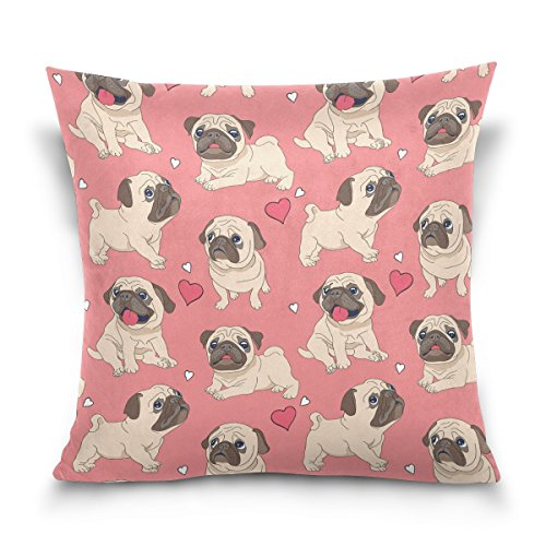 Price comparison product image Cute Dog Pug Pattern Pillow Covers 18x18 inches with Zipper Cushion Cover Decorative Pillow Sham for Couch Square Pillowcase Cotton Wool,  Pink