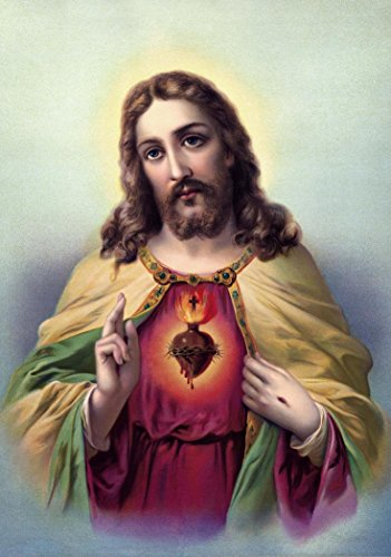 Jesus Christ POSTER A3 print Sacred Heart of Jesus Catholic pictures images Christian Painting Holy Wall Art Decor for Home Religious posters by SmartPolonia