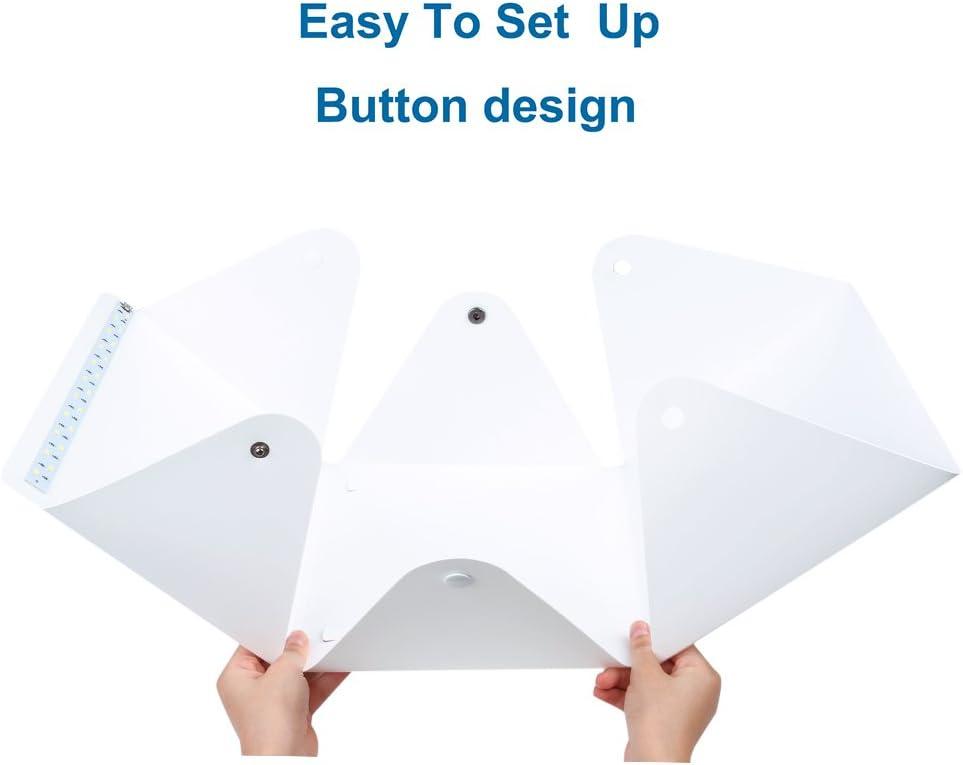 Portable Photo Studio,URiver Mini LED Light Box Kit Folding Table Top and 4 Backdrops Photography Lighting Tent Size:9.5 x 9.5 x 8.7