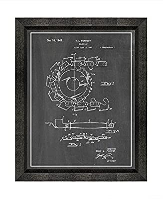 Chain Saw Patent Art Print with a Border in a Beveled Black Wood Frame M14273