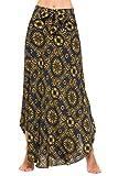 Zeagoo Women Long Bohemian Floral Print Hippie Skirt Summer Beach Maxi Skirts,Yellow,X-Large