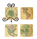 Creative Co-Op DE5515 Map Themed Resin Coaster Set with Metal Easel, Multicolor