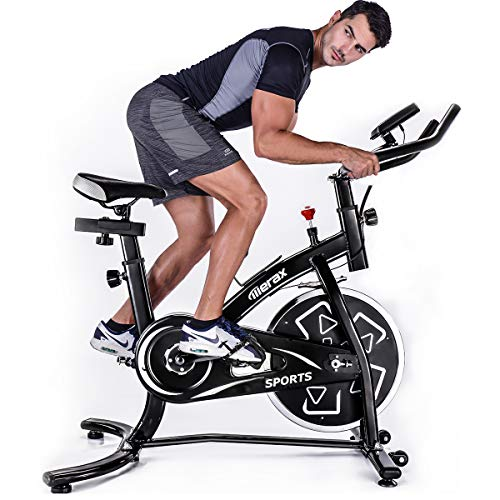 Merax Indoor Cycling Bike Belt Drive Stationary Bicycle Exercise Bikes with LED Monitor for Home Cardio Workout (Black)