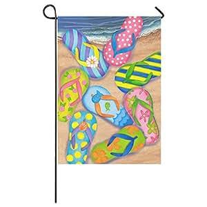 Estrella de mar Verano Flip Flop de playa al aire libre vacaciones de verano, Bienvenido a casa jardín casa bandera tela 28x 40pulgadas