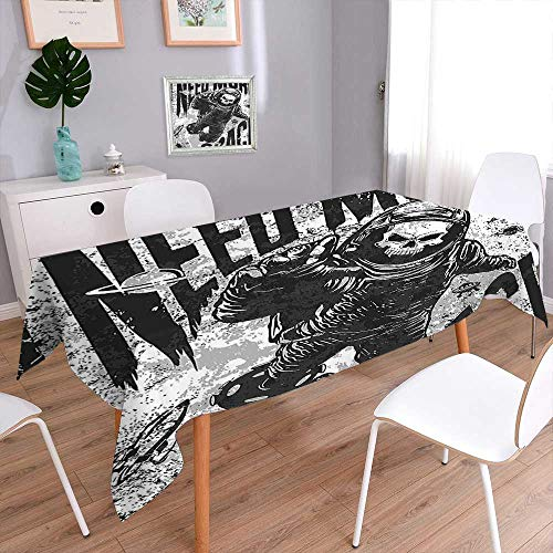 Jiahonghome Square Linen Tablecloth - 100% European Flax Natural Tablecloth Decor Skull in Spaceman Suit Over Grunge Background Dead Spooky Halloween Theme Grey Oblong/Rectangular ()