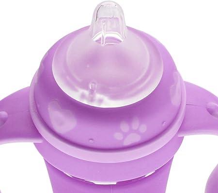 Biberones de cristal 240mL Biberón infantil Bebés resistentes a la caída Botella de leche de vidrio anti-colic recién nacidos con mango antideslizante(Rosado morado)