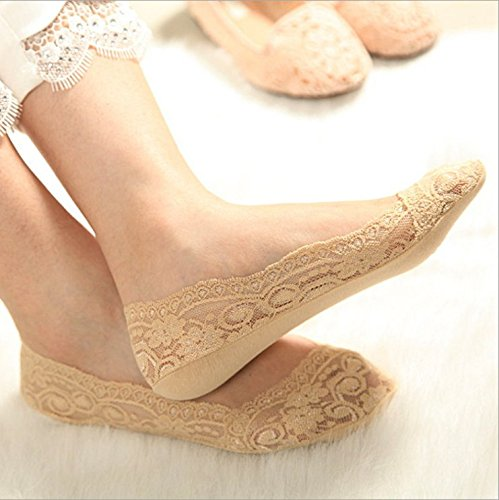 MemoryUhome 3 Pairs of Women's Beige Lace Hidden Boat Socks No Show Non-Skid