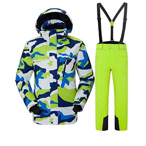 Luxfan Women&Men Colorful Print Hooded Snow Jacket Coat Windproof Waterproof Skiing Jacket Suit (Camo White+Green, S)