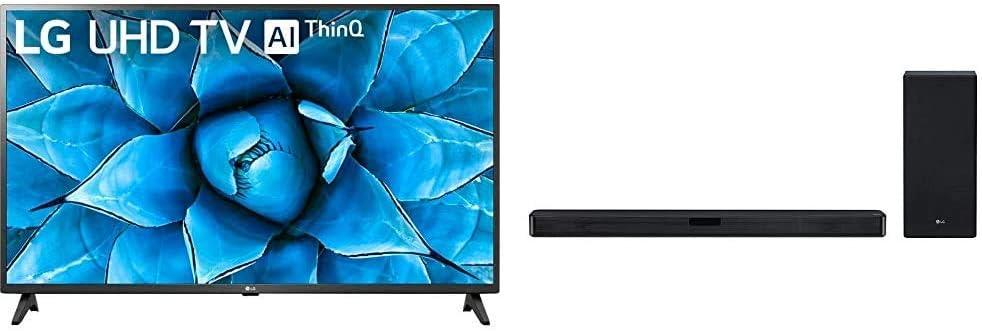 "LG 75UN7370PUH Alexa Built-in 75"" 4K Ultra HD Smart LED TV (2020) & LG SL5Y 2.1 Channel High Resolution Sound Bar w/DTS Virtual:X, Black"