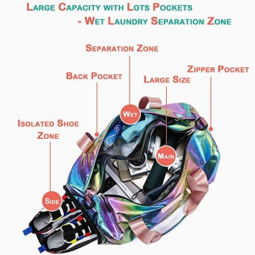 Spring Country Gym Duffel Bag Women Overnight Medium Lightweight Foldable Weekender Travel Luggage Sport Athletic Water-proof Dry Wet Shoe Compartment for Girls Kids