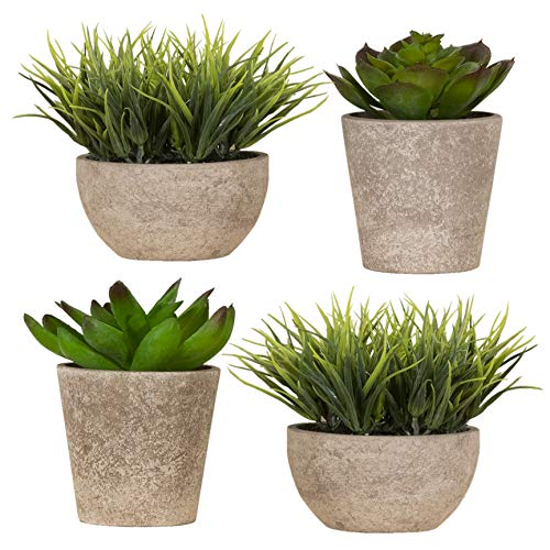 (Imperative Décor Decorative Artificial Fake Faux Succulent Potted Plant for Bathroom, Home Office, Dining Room Table, Greenery House Decor (Pack of 4))
