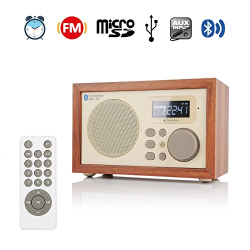 cd4a75a32b6 InstaBox i50 Wooden Digital Multi-Functional Speaker with Bluetooth FM Radio  Alarm Clock MP3 Player Supports Micro SD TF Card and USB with Remote  Control ...