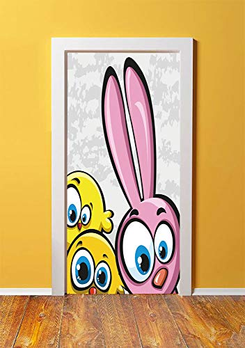 Funny 3D Door Sticker Wall Decals Mural Wallpaper,Bunny with Chickens Humor Childish Celebration Rabbit Animal Characters Image Decorative,DIY Art Home Decor Poster Decoration 30.3x78.10304,Yellow Pin -