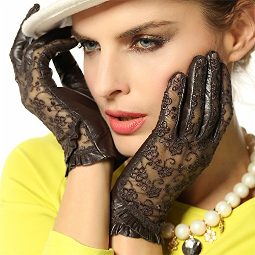 WARMEN Gothic Medival Lolita Ladies Genuine Nappa Leather&Lace Unlined Gloves (L, (Medival Dresses)