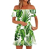 Makeupstory Summer Dresses for Teens Casual Knee Length, Little Black Dress for Women,Women Off Shoulder Short Sleeve Print Dress Ladies Casual Loose Party Dresses