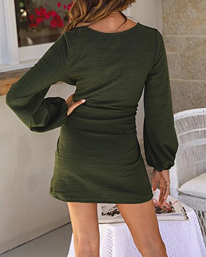 Imysty-Womens-Bodycon-Dresses-Tie-Front-Lantern-Sleeve-Wear-to-Work-Casual-Pencil-Dress