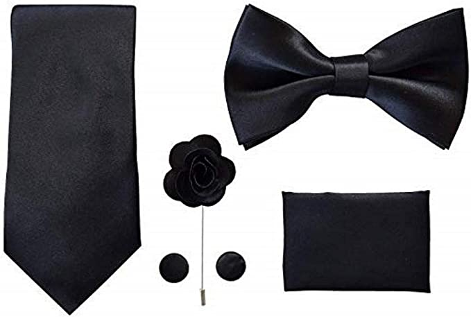 New 3 Pcs Set Woven Silk Bow Tie Cufflinks and Pocket Square Handkerchief Gift
