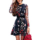 Women's A-Line Short Skirts Fashion Floral Embroidered Party Dress Lace Mesh Double Layer Mini Dress (S, Blue)