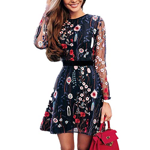- Women's A-Line Short Skirts Fashion Floral Embroidered Party Dress Lace Mesh Double Layer Mini Dress (L, Blue)