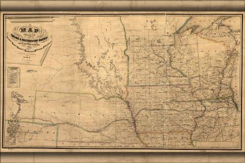 24x36 Poster; Map Chicago & Northwestern Railroad Illinois 1862; Antique Reprint - Chicago Illinois Map