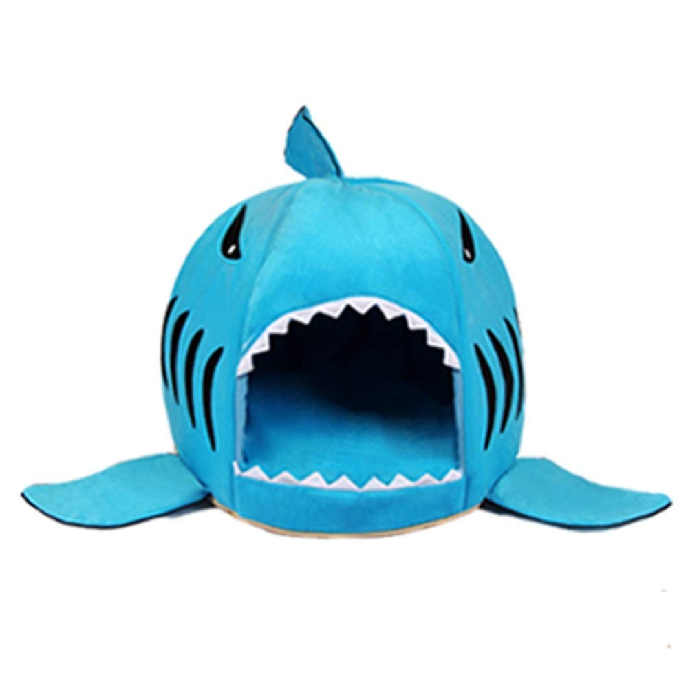 bluee M bluee M Hyue Removable and Washable Cartoon Shark Nest Cat Litter Pet Sleeping Bag Kennel Quatern Seasons Universal Anti-Slip Anti-bite (color   bluee, Size   M)