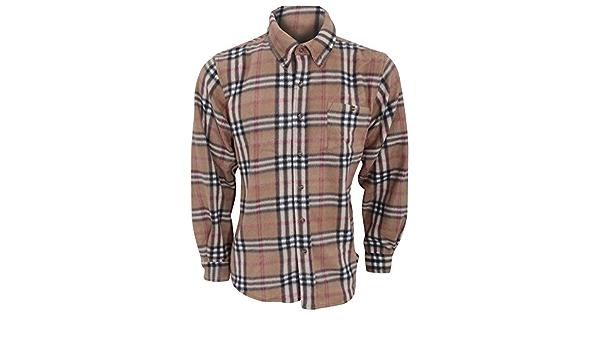 ProClimate - Top / Camisa de felpa con botones Modelo Plaid hombre caballero
