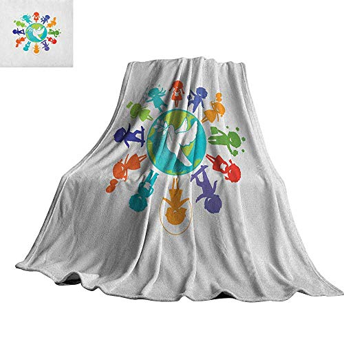 RenteriaDecor Youth,Digital Printing Blanket Cute Children Silhouettes Around The World with Pigeon Symbol of Peace Earth Planet Super Soft Cozy Throws 80