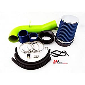 2007 2008 Chevrolet Silverado 1500 with 4.8L / 5.3L / 6.0L V8 Engine Green Piping Heat Shield Cold Air Intake System Kit with blue Filter