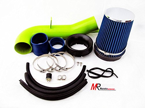 2007 2008 Chevrolet Silverado 1500 with 4.8L / 5.3L / 6.0L V8 Engine Green Piping Heat Shield Cold Air Intake System Kit with blue Filter by Monoka Racing